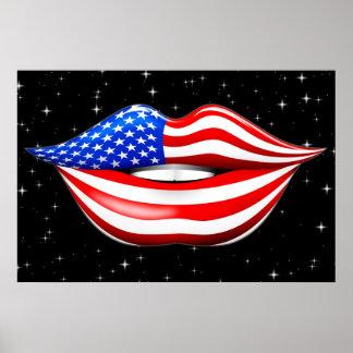 微笑の唇ポスターの米国の旗の口紅 ポスター