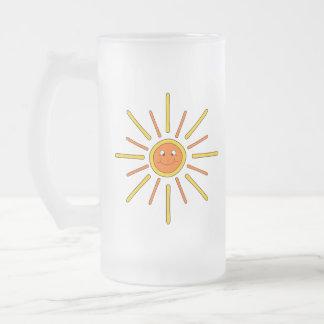 微笑の夏日曜日Yellowおよびオレンジ フロストグラスビールジョッキ