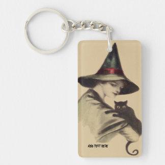微笑の幸せな魔法使いの黒猫 キーホルダー