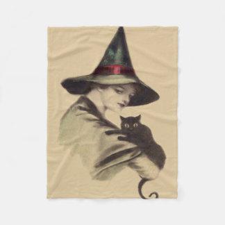 微笑の幸せな魔法使いの黒猫 フリースブランケット
