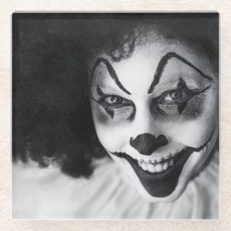 微笑の恐い白黒ピエロ ガラスコースター