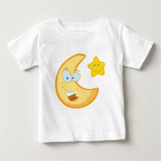 微笑の月および星のマンガのキャラクタ ベビーTシャツ