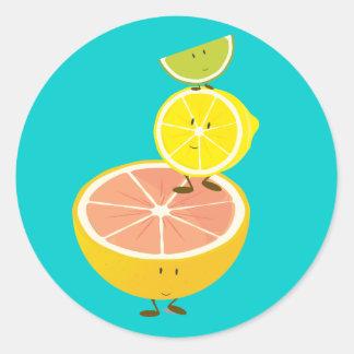 微笑の柑橘類の積み重ね ラウンドシール
