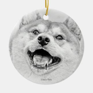 微笑の柴犬犬 セラミックオーナメント