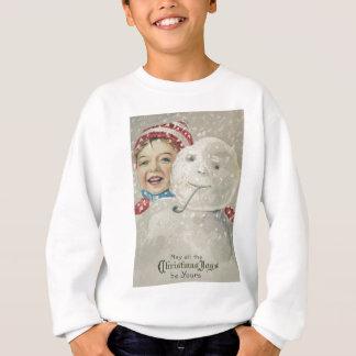 微笑の男の子の雪だるまの雪の管のニットの帽子 スウェットシャツ