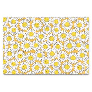 微笑の白いデイジーのおもしろいの花柄パターン 薄葉紙