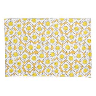 微笑の白いデイジーパターン 枕カバー