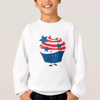 微笑の赤く白くおよび青のカップケーキ スウェットシャツ