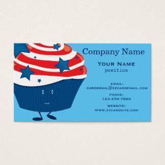 微笑の赤く白くおよび青のカップケーキ 名刺