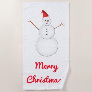 """微笑の雪だるま、サンタの赤い帽子、""""メリークリスマス! """" ビーチタオル"""