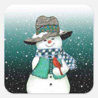微笑の雪だるま、吹雪のステッカーの(鳥)ショウジョウコウカンチョウ スクエアシール