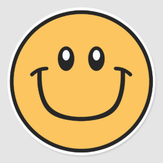 微笑の顔のステッカーのオレンジ0003 ラウンドシール