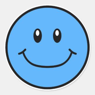 微笑の顔のステッカーの青0001 ラウンドシール
