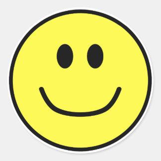 微笑の顔のステッカーの黄色0002 ラウンドシール