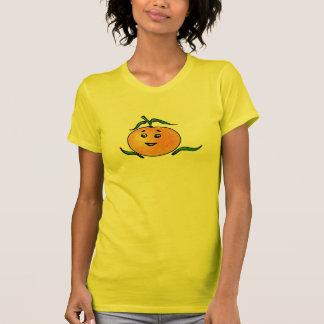 微笑の顔を搭載するかわいいマンダリンオレンジ Tシャツ