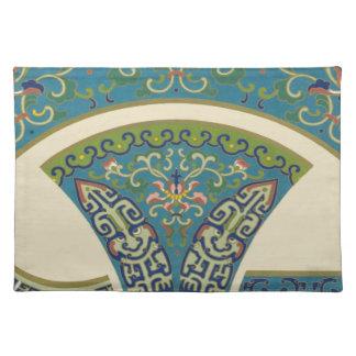 微笑の顔を搭載する青い東洋のデザイン ランチョンマット
