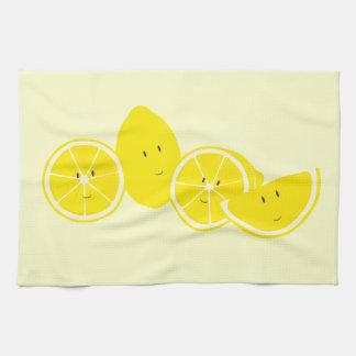 微笑レモンキャラクターのグループ キッチンタオル