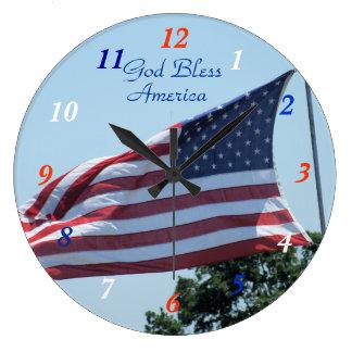 微風のアメリカの旗を振るカスタマイズ ラージ壁時計