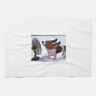 微風-犬およびファン キッチンタオル