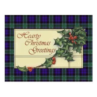 心からのクリスマスの挨拶、グラハムのタータンチェック ポストカード