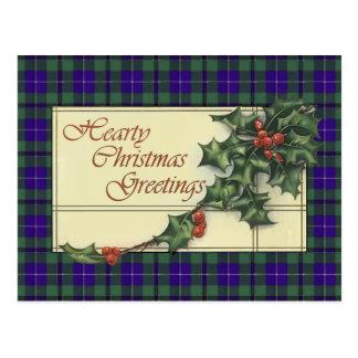 心からのクリスマスの挨拶、ダグラスのタータンチェック ポストカード