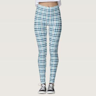 心地よいパジャマの格子縞パターン レギンス