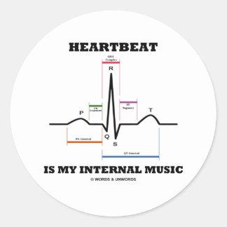 心拍はです私の内部音楽(ECG/EKG) 丸形シール・ステッカー