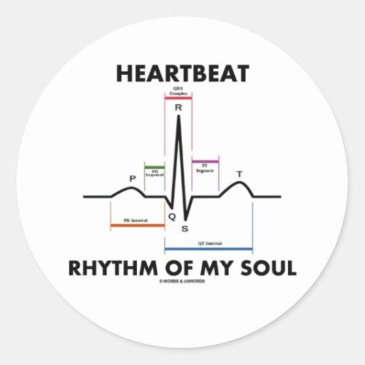 心拍|リズム|私|精神|(ECG/EKG) 丸形シールステッカー