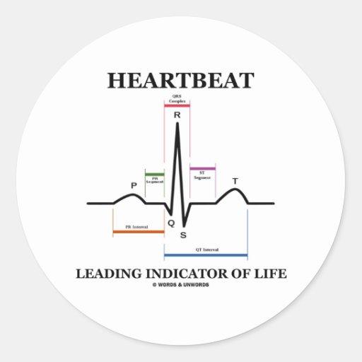 心拍|導くこと|表示器|生命 丸形シールステッカー