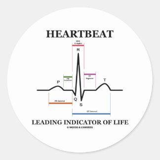 心拍|導くこと|表示器|生命 丸形シール・ステッカー