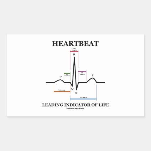 心拍|導くこと|表示器|生命|(ECG/EKG) 長方形シール・ステッカー