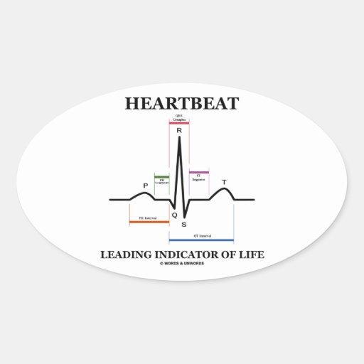 心拍|導くこと|表示器|生命|(ECG/EKG) 卵形シール・ステッカー