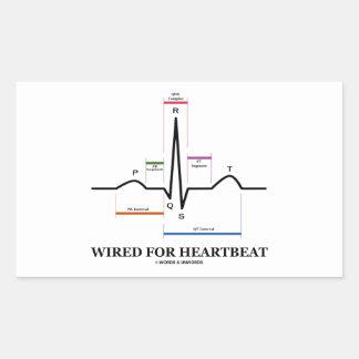 心拍(心電図)のためにワイヤーで縛られる 長方形シール・ステッカー