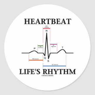 心拍|生命|リズム|(ECG/EKG|心拍) 丸形シールステッカー