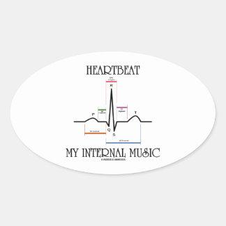 心拍|私|内部|音楽|(心電図) 卵形シール・ステッカー