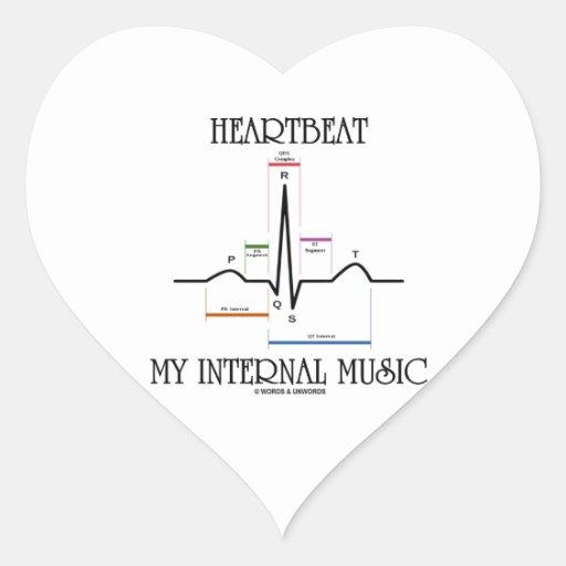 心拍|私|内部|音楽|(心電図) ハート形シール・ステッカー