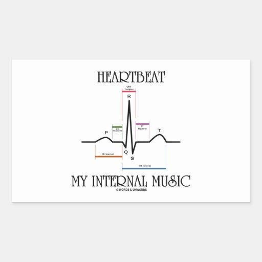 心拍|私|内部|音楽|(心電図) 長方形シールステッカー