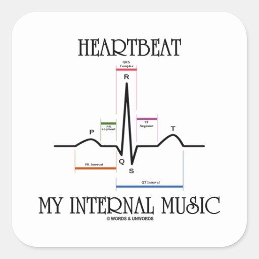 心拍|私|内部|音楽|(心電図) 正方形シールステッカー