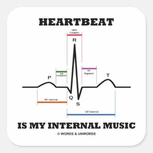 心拍|私|内部|音楽|(ECG/EKG) 正方形シール・ステッカー