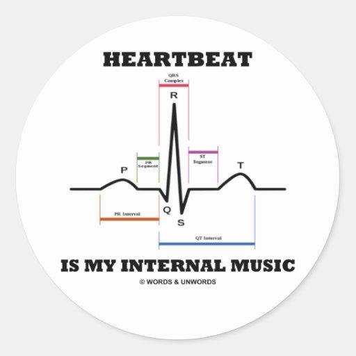 心拍|私|内部|音楽|(ECG/EKG) 丸形シールステッカー