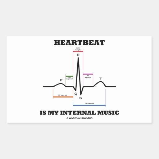 心拍|私|内部|音楽|(ECG/EKG) 長方形シール・ステッカー