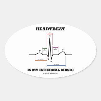 心拍 私 内部 音楽 (ECG/EKG) 卵形シール・ステッカー