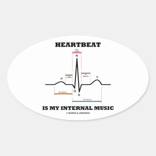 心拍|私|内部|音楽|(ECG/EKG) 卵形シール・ステッカー