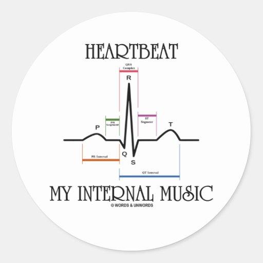 心拍|私|内部|音楽|(ECG/EKG|心拍) 丸形シール・ステッカー