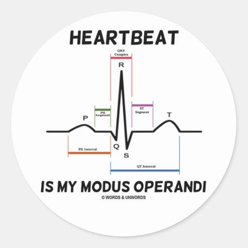 心拍|私|方式|Operandi|(心電図) 丸形シール・ステッカー