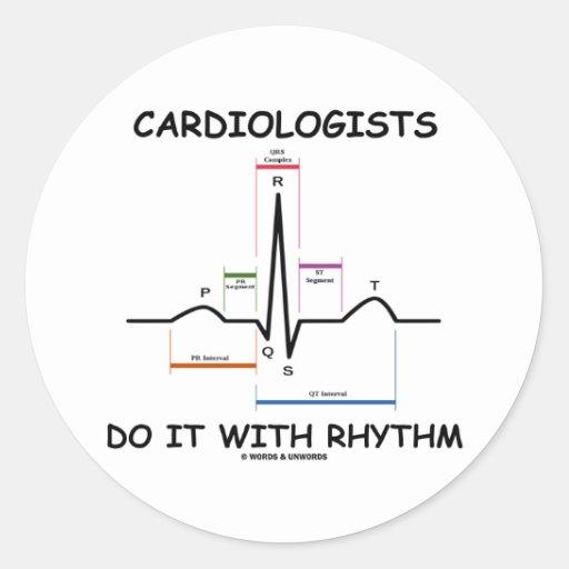 心臓学医||リズム|(ECG/EKG) 丸形シールステッカー