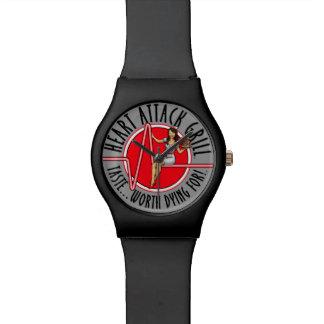 心臓発作のグリルのロゴの黒の腕時計 腕時計