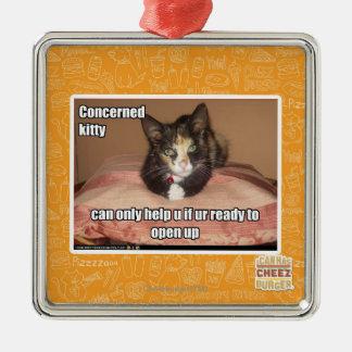 心配した子猫 メタルオーナメント