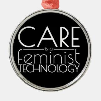 心配は男女同権主義の技術です シルバーカラー丸型オーナメント