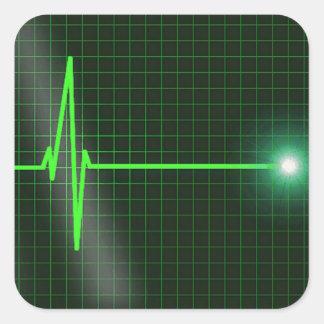 心電図|波|ステッカー|パック 正方形シールステッカー